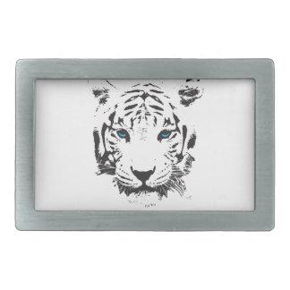 Tigre blanco con los ojos azules hebilla de cinturon rectangular
