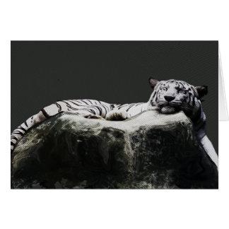 Tigre blanco de la nieve - el dormir del gato tarjeta de felicitación