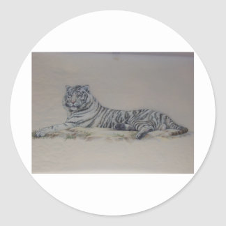 Tigre blanco en descanso pegatina redonda