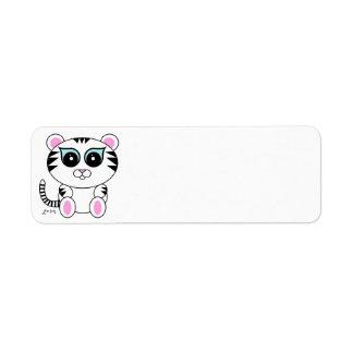 Tigre blanco etiquetas de remite