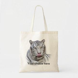 Tigre blanco hambriento bolsa tela barata