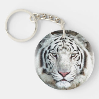 Tigre blanco llavero redondo acrílico a doble cara