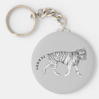 Tigre blanco llavero redondo tipo pin