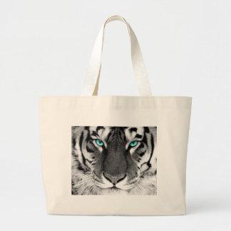 Tigre blanco negro bolsa tela grande