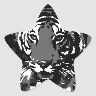 Tigre blanco negro del arte pop pegatinas forma de estrellaes personalizadas