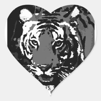 Tigre blanco negro del arte pop etiquetas