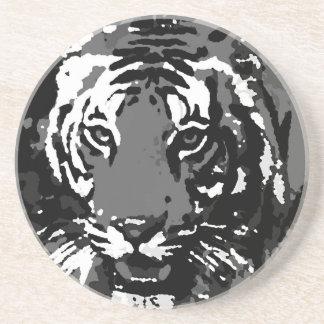 Tigre blanco negro del arte pop posavaso para bebida