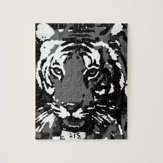 Tigre blanco negro del arte pop puzzle con fotos