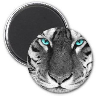 Tigre blanco negro imán redondo 5 cm