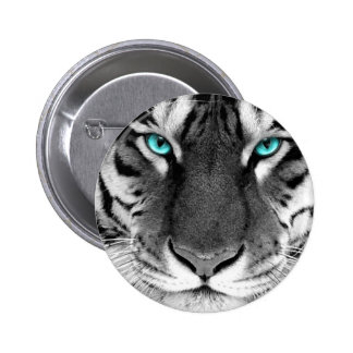 Tigre blanco negro pin redondo de 2 pulgadas