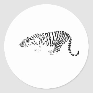Tigre blanco etiquetas redondas