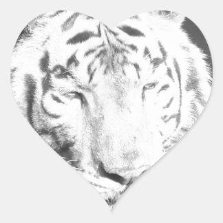 Tigre blanco pegatina corazon