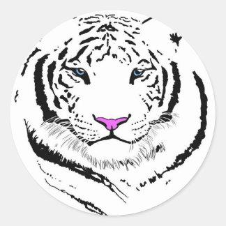 Tigre blanco pegatinas redondas
