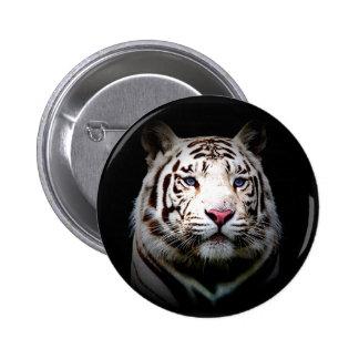 Tigre blanco pin redondo de 2 pulgadas