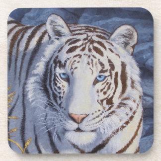 Tigre blanco posavasos de bebida