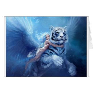 Tigre blanco que vuela con ángel tarjeta de felicitación