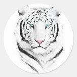 Tigre blanco siberiano etiqueta redonda