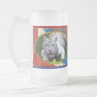 Tigre blanco Stein patriótico Taza De Cristal