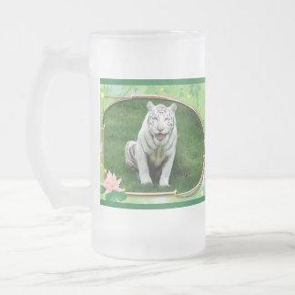 Tigre blanco Stein Taza De Cristal