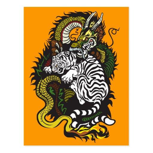 tigre blanco y dragón verde postales