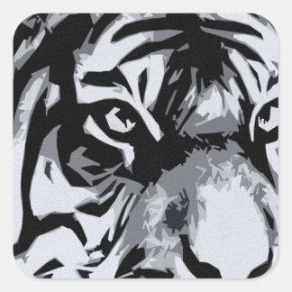 tigre blanco y negro pegatina cuadrada