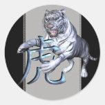 Tigre blanco y símbolo chino etiqueta