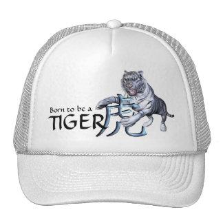 Tigre blanco y símbolo chino gorros