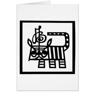 Tigre chino del corte del papel del zodiaco tarjeta de felicitación