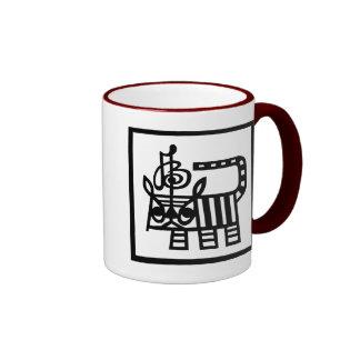 Tigre chino del corte del papel del zodiaco taza de dos colores