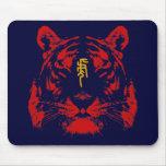 Tigre chino del zodiaco en kanji alfombrilla de ratón