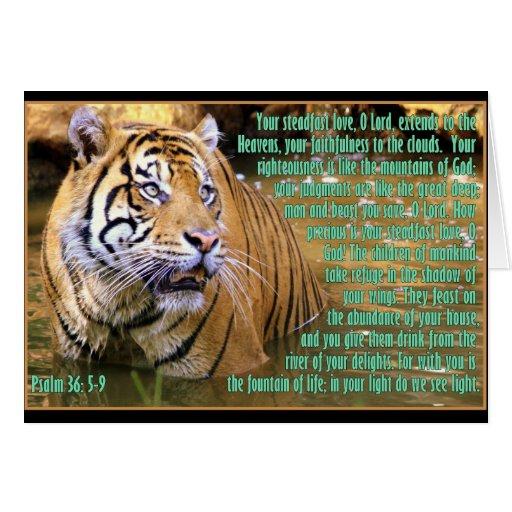 Tigre con el 36:5 del salmo - 9 tarjeta de felicitación