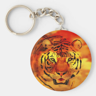 Tigre con la salida del sol llavero redondo tipo pin