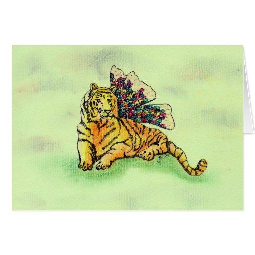 Tigre con las alas tarjeta de felicitación