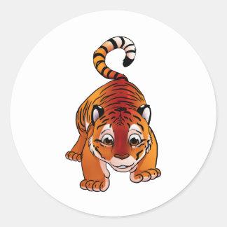 Tigre Cub anaranjado Pegatina Redonda