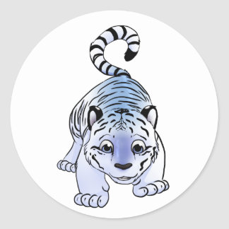 Tigre Cub blanco Pegatina Redonda