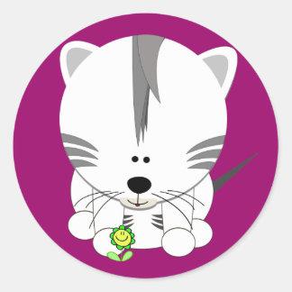 Tigre Cub blanco Etiqueta Redonda
