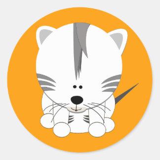 Tigre Cub blanco Etiquetas Redondas