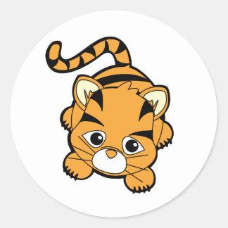 Tigre de bebé Cutie Pegatina Redonda
