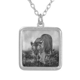 Tigre de bebé que acecha en blanco y negro grimpolas