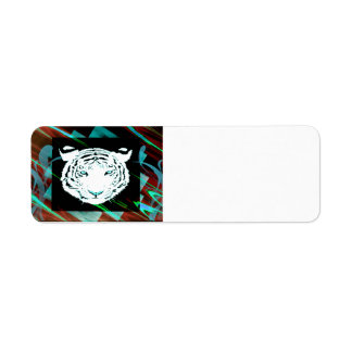 Tigre de Bengala blanco en un fondo del estilo del Etiquetas De Remite