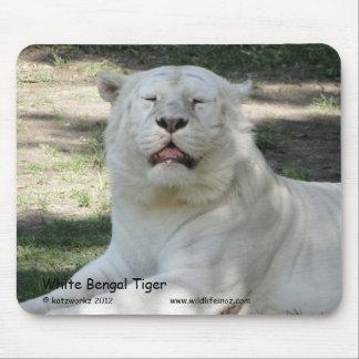 Tigre de Bengala blanco Tapetes De Ratón