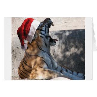 Tigre de Bengala con un gorra de Santa Tarjeta De Felicitación