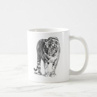 Tigre de Bengala dibujado mano realista con el Taza De Café