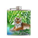 Tigre de Bengala pacífico en frasco de la selva