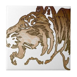 Tigre de Brown Azulejo Cuadrado Pequeño