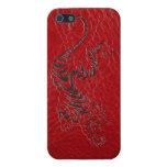 Tigre de cuero rojo iPhone 5 protectores