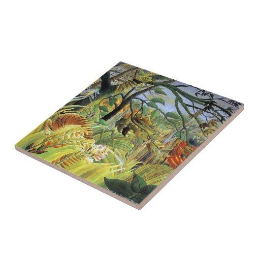 Tigre de Enrique Rousseau- en una tormenta tropica Azulejo Cuadrado Pequeño