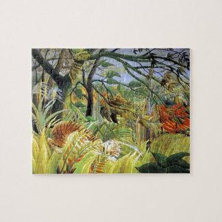 Tigre de Enrique Rousseau- en una tormenta tropica Puzzle Con Fotos
