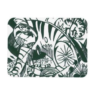 Tigre de Franz Marc, bella arte blanco y negro Imán Rectangular
