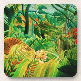 Tigre de Henri Rousseau en prácticos de costa trop Posavasos De Bebida